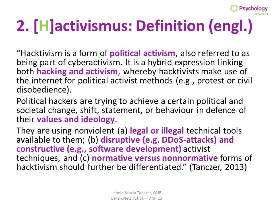 2. [H]activismus: Definition (engl.)